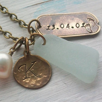 Personalized Scottish Sea Glass Necklace Sea by seaglasssparkles
