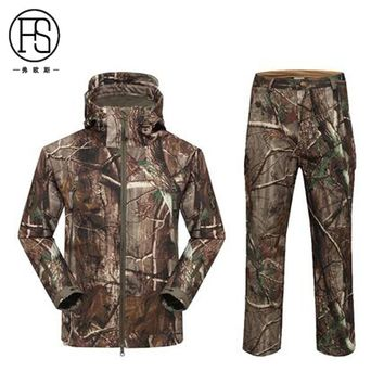 Hot Sale Tactical Men Soft shell TAD Jacket + Pants Waterproof Outdoor Hunting Fleece Lining Jacket Hiking Camping Sport Suits