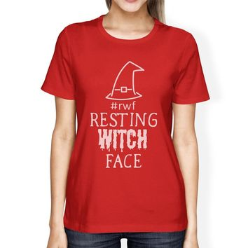 Rwf Resting Witch Face Womens Red Shirt
