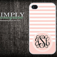monogram iphone 4 case - iphone 4s case - plastic or silicone rubber - light pink