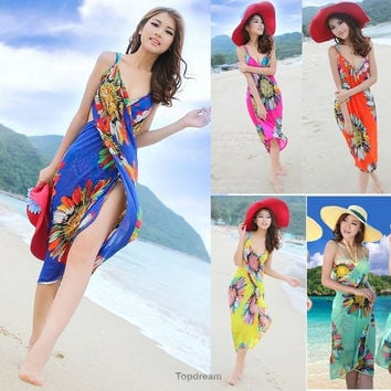 Women Sexy Colorful Deep V Wrap Chiffon Swimwear Bikini Cover Up Sarong Beach Dress = 1945909444