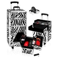 SHANY Zebra Rolling Trolly Makeup Case, Light Weight, 12 Pounds