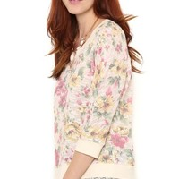 French Terry Dolman Top with Floral Print and Lace Details