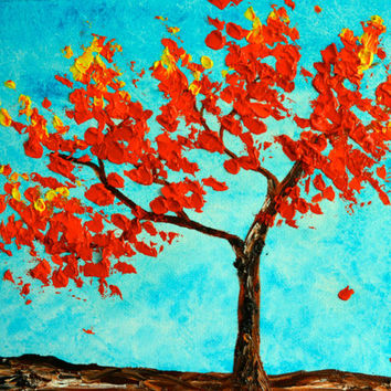 An Autumn Morning, Tree of Life, Original Painting, Red Tree