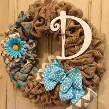 Spring Wreath, Summer Wreath, Burlap Wreath, Chevron Burlap Wreath, Easter Wreath, Monogram Wreath, Blue Burlap Wreath
