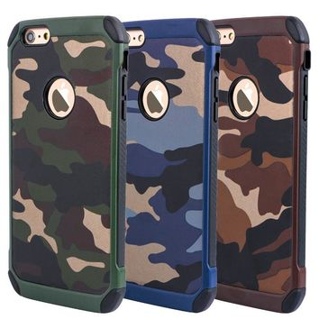 Heavy Duty Dual Layer Military Army Camo Design Defender Camouflage Painting Pattern Shockproof Rugged Impact Super Protective iPhone Case