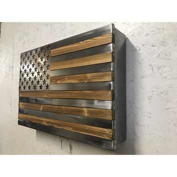 The Strong Box! All Steel, Locking Freedom Cabinet topped with a burnt accent Polished US Flag Metal Art