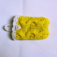 Yellow knit cell phone case cell phone cozy phone cover iphone 4 or 5 Mobile gadget iphone touch sleeve Mobile phone case phone sweater