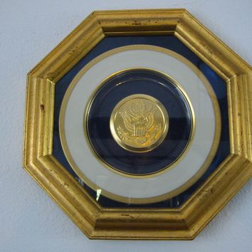 Great Seal of US Commemorative Pickard China Gold Eagle Octagonal Frame