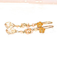 Peach Quartz Earrings Flower Earrings Quartz Jewelry Summer Finds Peach Pearl Earrings Flower Jewelry Bright Earrings Tangerine Quartz