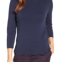 Halogen Scallop Edge Sweater (Regular & Petite) | Nordstrom