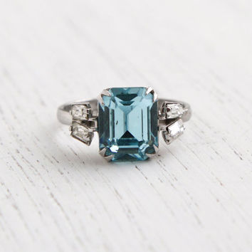 Vintage Sterling Silver Blue Stone Ring - 1950s Size 5 Emerald Cut Stone & Clear Rhinestone Jewelry / Aqaumarine Light Blue