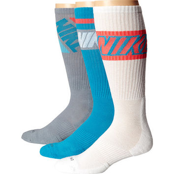 Nike Dri-FIT Crew Sock 3-Pair Pack Blue Lagoon/Dove Grey/White/White/Bright Crimson - 6pm.com