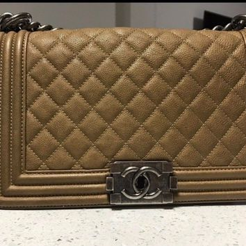 CHANEL Old Medium LE BOY Brown Caviar Quilted Flap Bag Bronze/Chrome HW