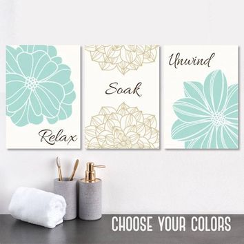 Bathroom Decor, Seafoam BATHROOM WALL Art, CANVAS or Prints, Flower Bathroom Wall Decor, Relax Soak Unwind, Bathroom Quotes Set of 3 Artwork