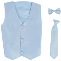 Light Blue Vest & Tie Set Poly Silk 2 Pc with Choice of Necktie or Bow Tie (Boys 3 months - size 14)