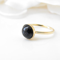 Blue gold stone set in a gold ring  Stackable by FortunaJewelry