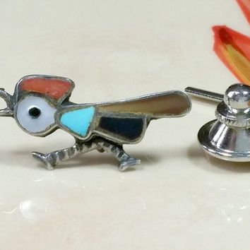 Vintage Southwestern Tie Tack Mexico Silver Rooster Running Inlaid Stone Genuine Turquoise Red Coral Black Onyx Mother o Pearl Dinosaur Bone