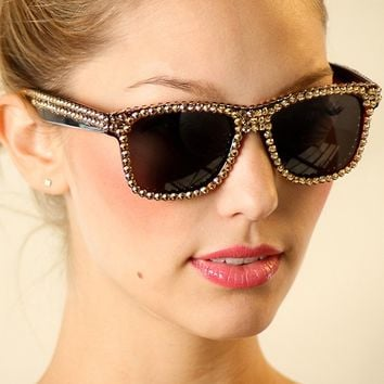 Brown Swarovski Crystal Wayfarer Fashion Sunglasses