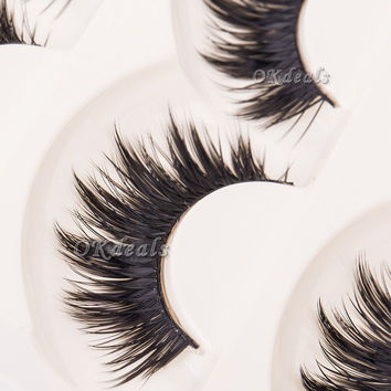 5 Pairs Of Women Ladies Makeup Thick False Eyelashes Eye Lashes Long Black Nautral Handmade Makeup Beauty Tools