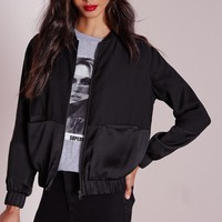 Missguided - Satin Two Tone Bomber Jacket Black