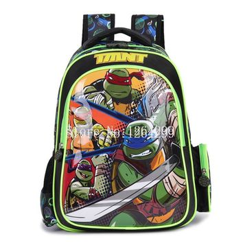 New Fashion Teenage Mutant Ninja Turtles Boys School Bags Kids Waterproof Nylon Cartoon Backpack Bag For Children