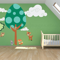 Egg tree forest and friends vinyl wall decal, wall art