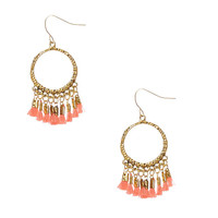 Gold-tone Open Circle and Coral Tassel Fringe Drop Earrings
