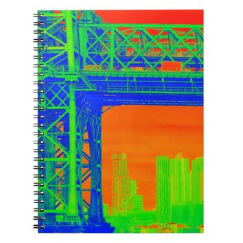 NYC Bridge View Orange Green and Blue Notebook