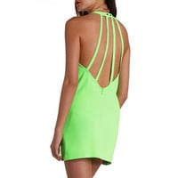 NEON STRAPPY BACKLESS SHIFT DRESS