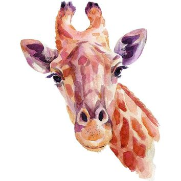 Giraffe Home Wall Shelf Decor Animal Decorations Watercolor Small Sign - 7.5 x 10.5 Inch, Metal