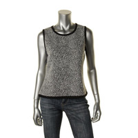 Calvin Klein Womens Contrast Trim Scoop Neck Knit Top