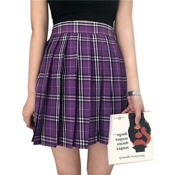 Women Pleat Skirt Harajuku Preppy Style Skirts Ulzzang Mini Cute School Uniforms Ladies Plaid Kawaii Skirt Saia Faldas SK606