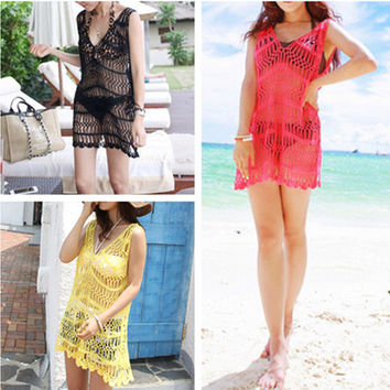 Fashion Knit Hollow Hook Flowers V-Neck Sleeveless Mini Dress Beach Dress