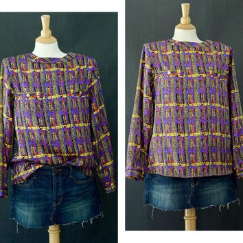 Vintage Button Up Blouse, Multi Color Tribal Blouse, Long Sleeve Shirt, Secretary Blouse, 80s Designer Blouse, Long Sleeve Pattern Blouse