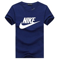 NIKE 2018 summer men's and women's round neck casual sports short-sleeved T-shirt F-A000-PPNZ Royal blue