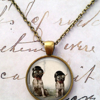 Dog Necklace, Steampunk, Smoking, Pugs T493
