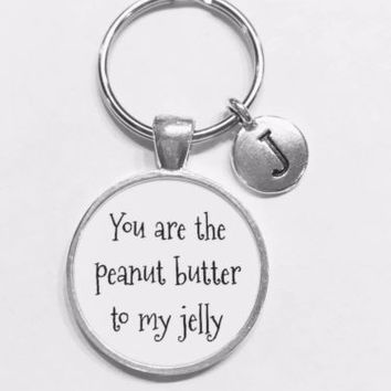 Choose Initial, Best Friend You Are The Peanut Butter To My Jelly Gift Keychain