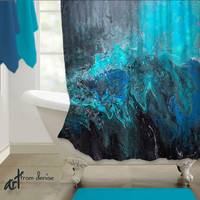 Abstract Shower curtain, Teal Turquoise blue black Home decor, Designer bath decor, Beautiful Bathroom decor Fabric artistic Artisan Upscale