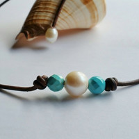 Genuine Turquoise, Freshwater Pearl and Brown Leather Choker/Necklace