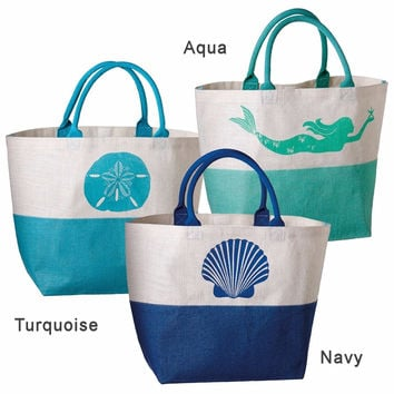 G! Colorblock Sea Amy Jute Burlap Beach Tote Bag 22-in