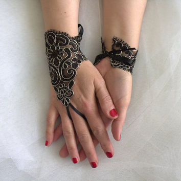 Gothic black, lace wedding gloves,silver frame,  costume gloves,halloween gloves, free shipping!