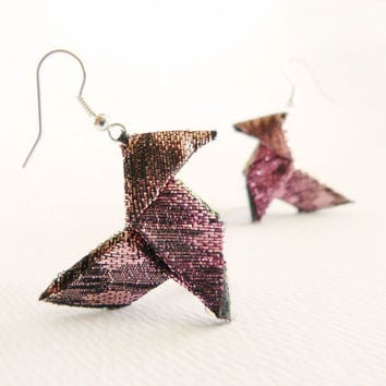 Lamé origami earrings sunset colors peach and pink