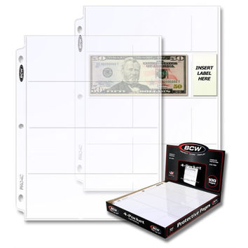 BCW PRO 4-POCKET CURRENCY PAGE (20 CT. BOX)