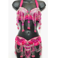 Dark Pink Sequin & Beaded Tassel Bra & Belt Set