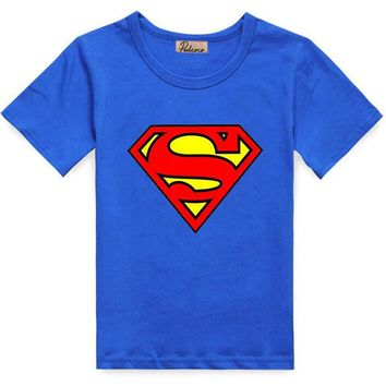 2017 Summer Baby Kids Boys Superman Short Sleeve T-shirt Cotton Tops Clothes 2-7 Y Free Shipping