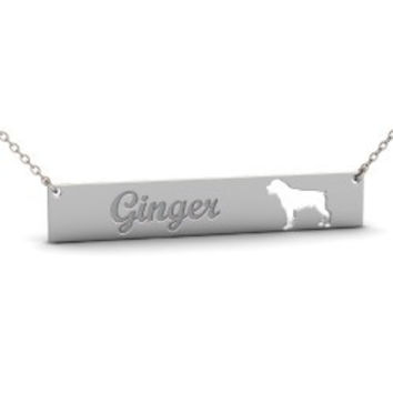 Sterling Silver ROTTWEILER Dog Name Bar Necklace