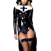 Sexy nun costume Vinyl Leather Cosplay Halloween Costume
