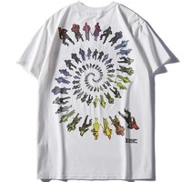 LV Louis Vuitton 2019 new style English embroidery character print round neck shirt T-shirt white