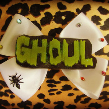 GHOUL word Haunted Hair Candy Hair Bow with jems